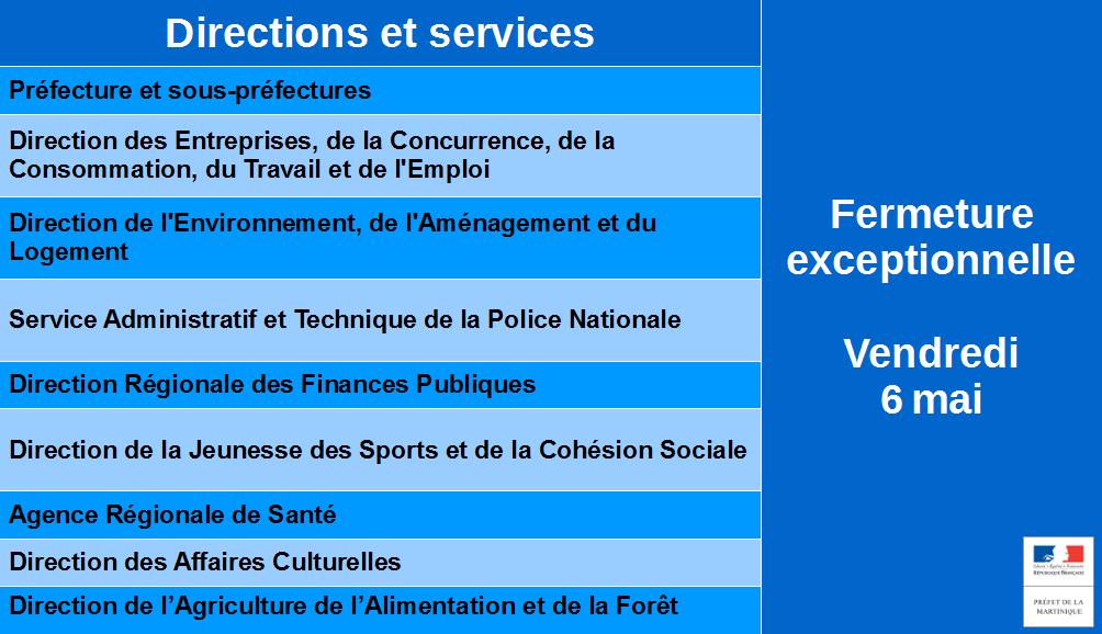 Fermeture exceptionnelle des services de l'Etat vendredi 6 mai
