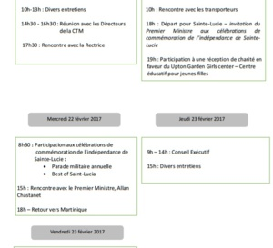 Alfred MARIE-JEANNE vous informe de son programme de la semaine du 20 février 2017..