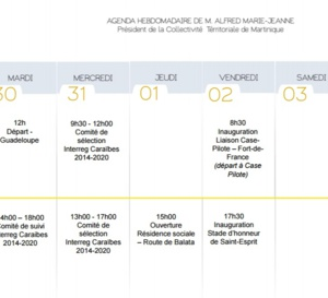 Agenda Hebdomadaire de M. Alfred Marie-Jeanne
