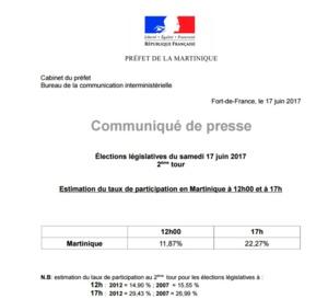 Estimation du taux de participation à 17 h pour le 2ème tour des  élections législatives.