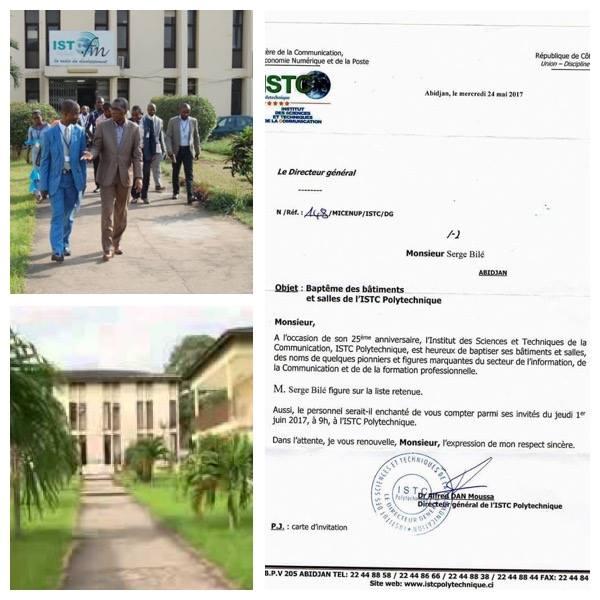 Serge Bilé honoré;  une salle de l'école de journalisme d'Abidjan porte son nom.