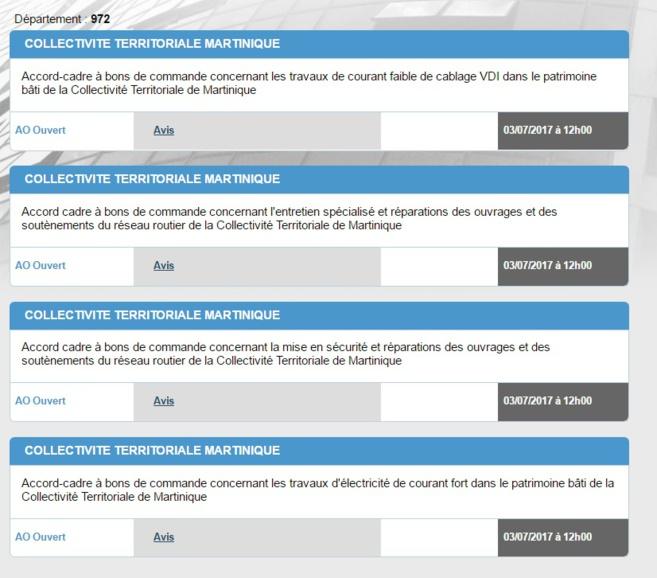 4 appels d'offres seulement en ligne de travaux à la date du 24/06/ 2017 par le CTM. Pour agrandir cliquer sur la photo