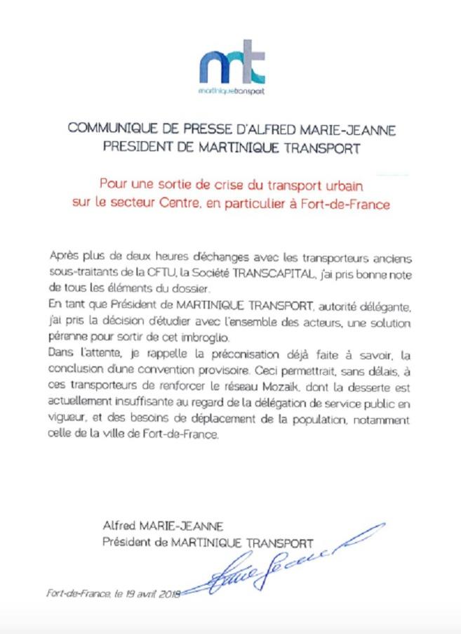 Grève des bus de la CFTU : Alfred Marie Jeanne propose une convention provisoire. Rien de moins !