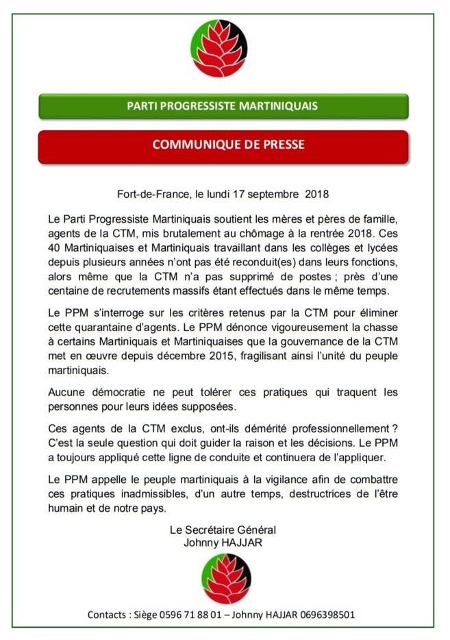 Communiqué du PPM relatif au licenciement des emplois aidés de la CTM