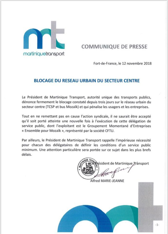 Alfred Marie-Jeanne dit non au blocage de son TCSP !