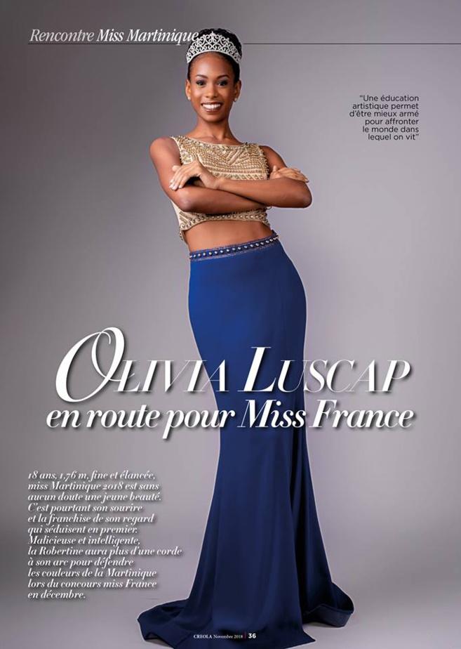 LUSCAP, prénom Olivia, Elle est Miss Martinique 2018 et va nous représenter.