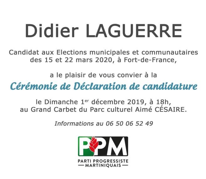 Déclaration de candidature de Didier Laguerre ce Dimanche 1 décembre