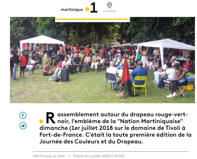 """Martinique Première a même réalisé un reportage sur une levée de drapeau au domaine de Tivoli. Quoi de plus politique qu'une levée de Drapeau. Mais pas un mot de DMS malgré la diffusion du sujet sur un """"média officiel """""""