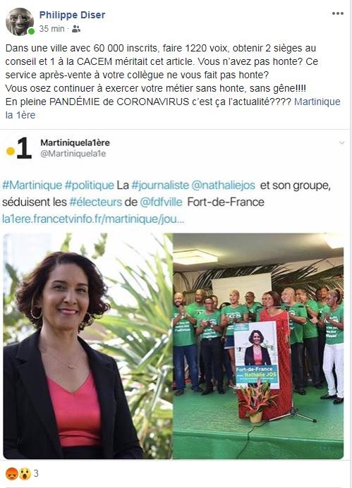 RFO félicite expressément, sa journaliste de Martinique la 1ère, Nathalie Jos de son succès électoral !