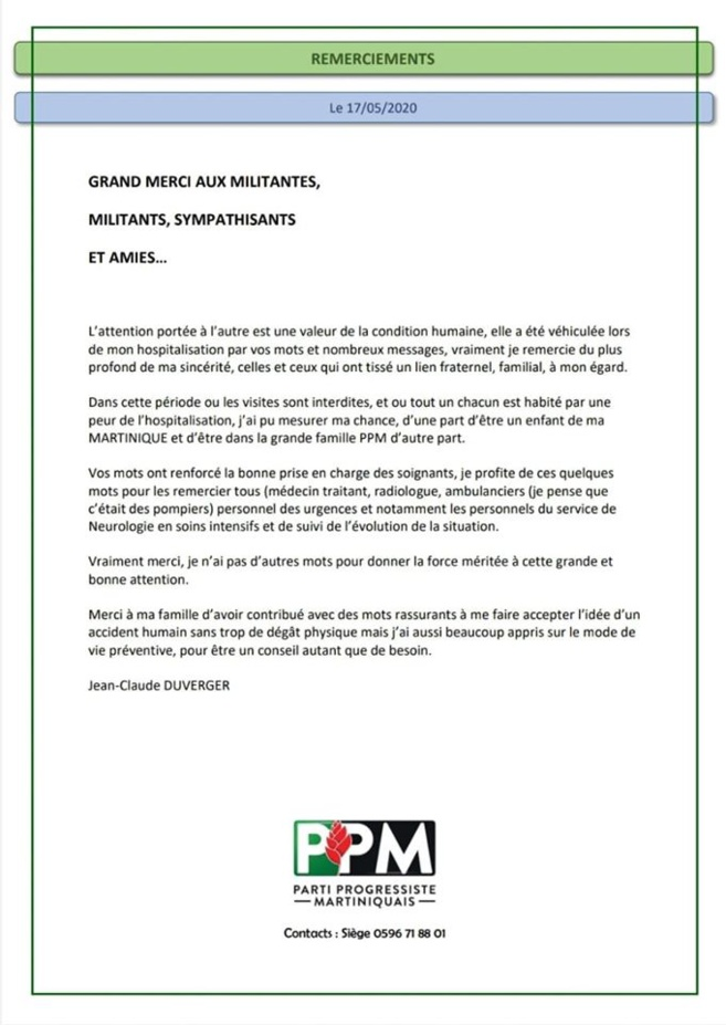 Martinique - santé - politique / Jean Claude Duverger va mieux ....son communiqué.