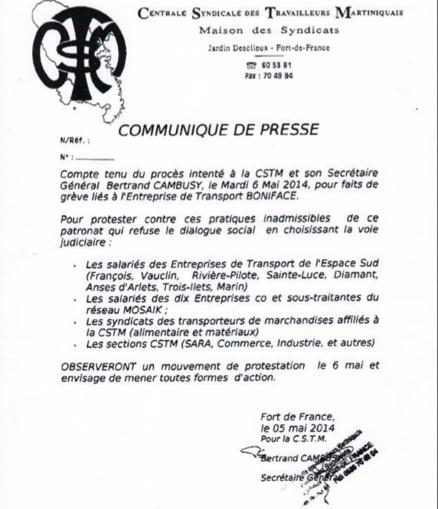 Bertrand CAMBUSY annonce une grève générale alors que le patron de l'entreprise BONIFACE a déjà donné satisfaction à son personnel!