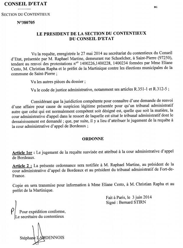 SAINT PIERRE : Première défaite pour Raphael MARTINE.  La demande de décentralisation du procès pour fraude au election est  retoquée.