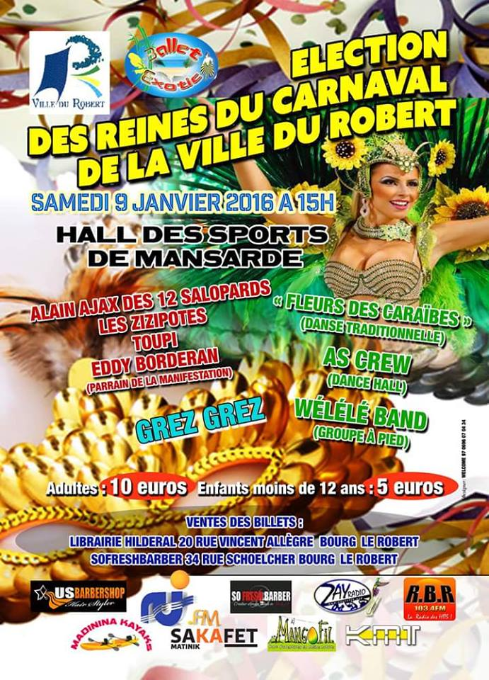SAMEDI 09 JANVIER 2016 : ÉLECTION DES REINES DU CARNAVAL DU ROBERT