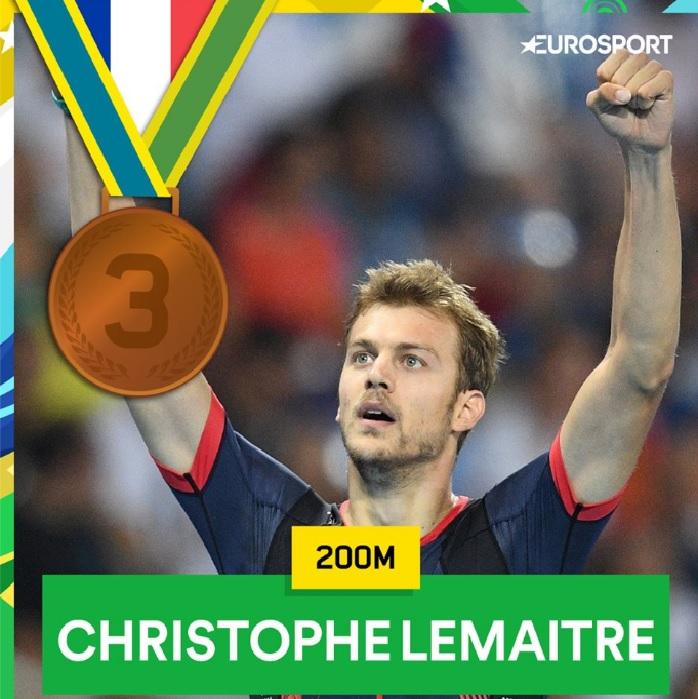 La médaille de bronze pour Christophe Lemaitre sur 200m (20'12) !!! ÉNORME !!!