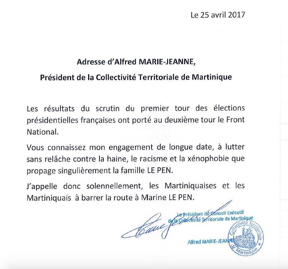 Ce courrier est sans en tête mais tamponné du sceau de la CTM; Il le dit donc en sa qualité de Président de tous les Martiniquais