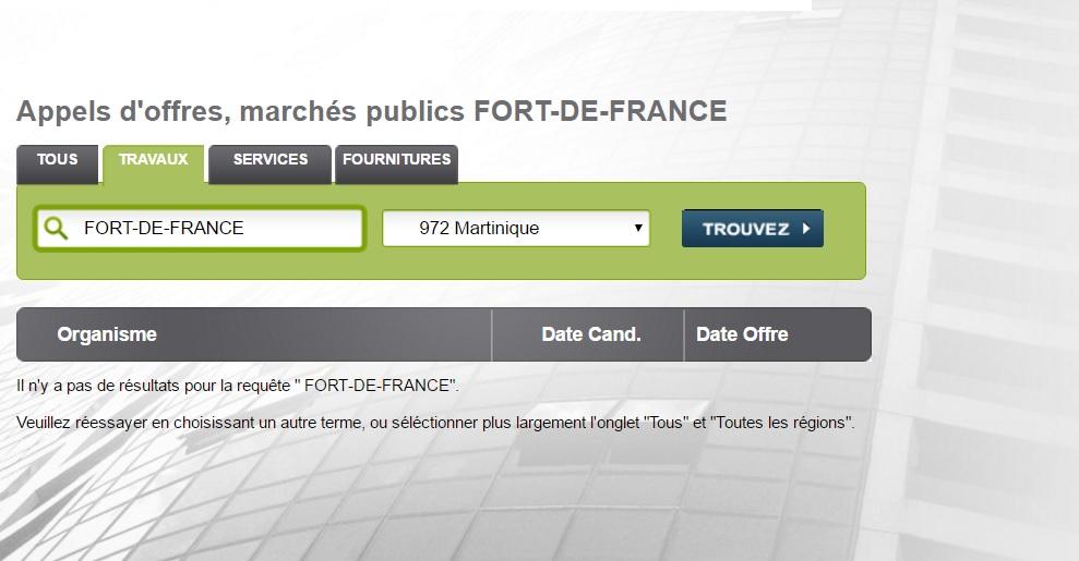 Dans la requette travaux aucun appel d'offre de travaux en ce moment pour la ville de Fort-de-France