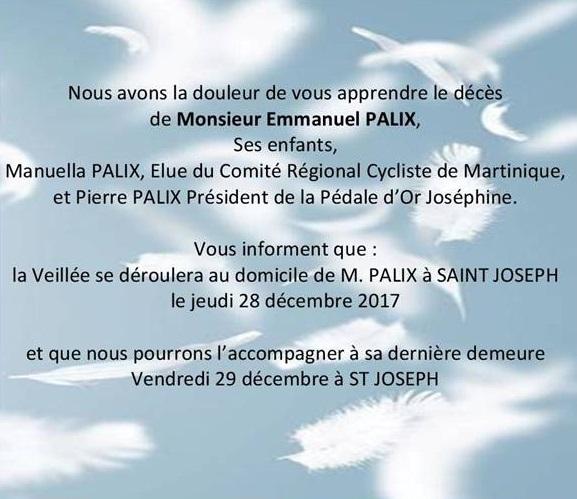 Cyclisme, la famille PALIX est en deuil.