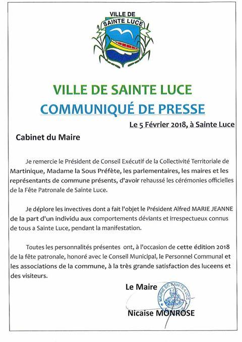 """MARTINIQUE """"Un individu aux comportements déviants irrespectueux et connu de tous"""" précise le maire de Saint Luce !"""
