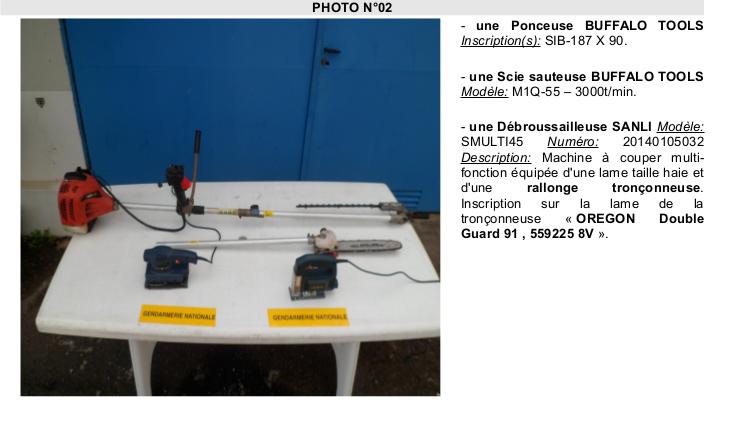 Gendarmerie : Des bijoux, des objets multimédias ainsi que de l'outillage volés a identifier !