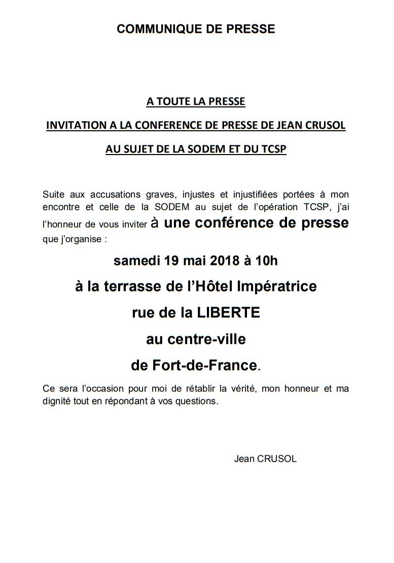 Suite aux accusations,  Jean Crusol organise un conférence de presse.
