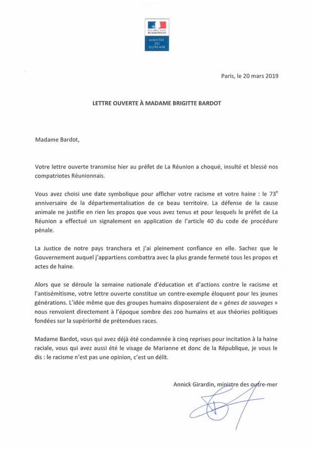 Une pétition pour obtenir des excuses officielles de Mme Brigitte Bardot au peuple réunionnais