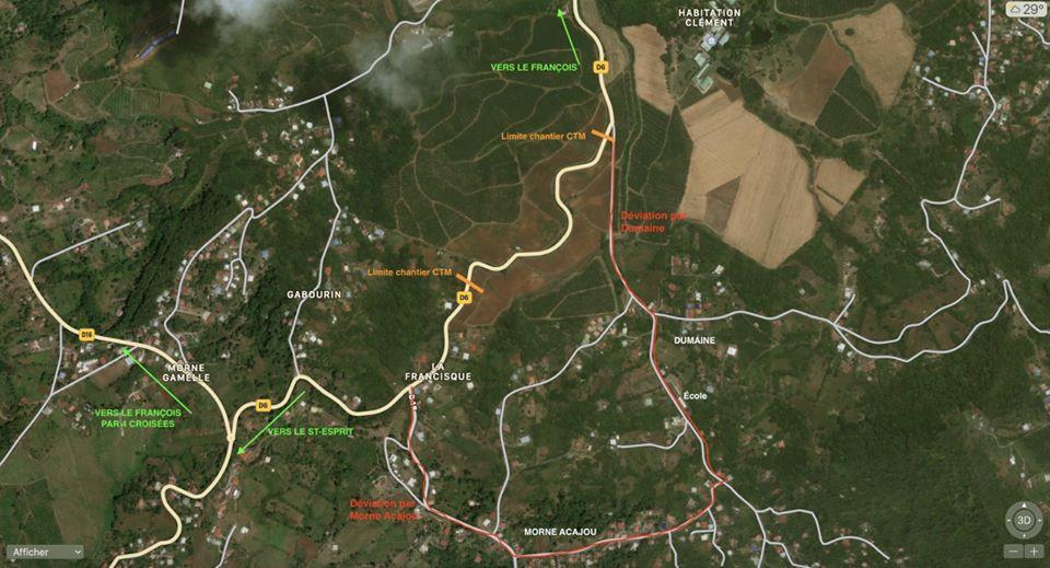 La RD6 reliant le François au Saint-Esprit, la circulation sera perturbée;