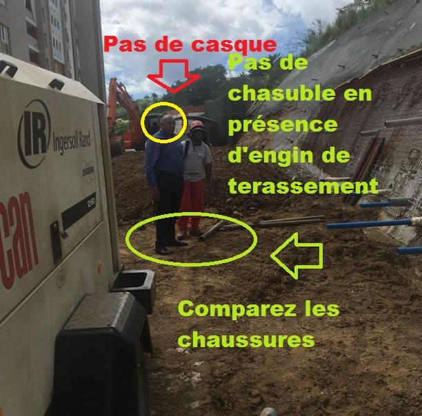 Un élu sur chantier , même maître d'ouvrage doit porter les protections de chantier. L'exemple ne vient pas du bas .. mais du haut