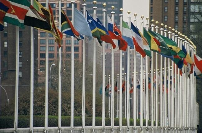 Photo : Drapeaux des États membres de l'ONU, au siège de l'organisation à New York (Wikimedia commons / aotearoa).