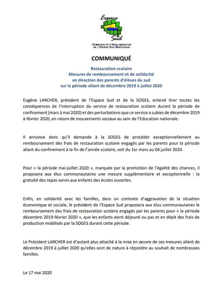 Covid 19 - Déconfinement- école  /   Cantine: dans le sud les parents seront remboursés.