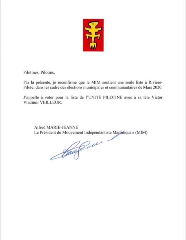 Contrairement à Edouard Maran, Alfred Marie-Jeanne, le patron du MIM,  appelle à voter Victor Vladimir Veilleur,