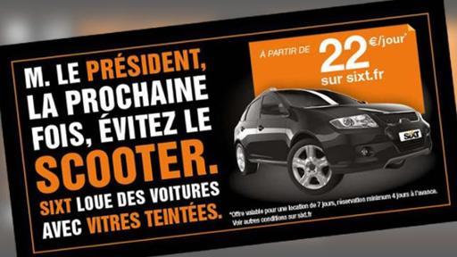 Sixt conseille au chef de l'Etat de louer une voiture aux vitres teintées!