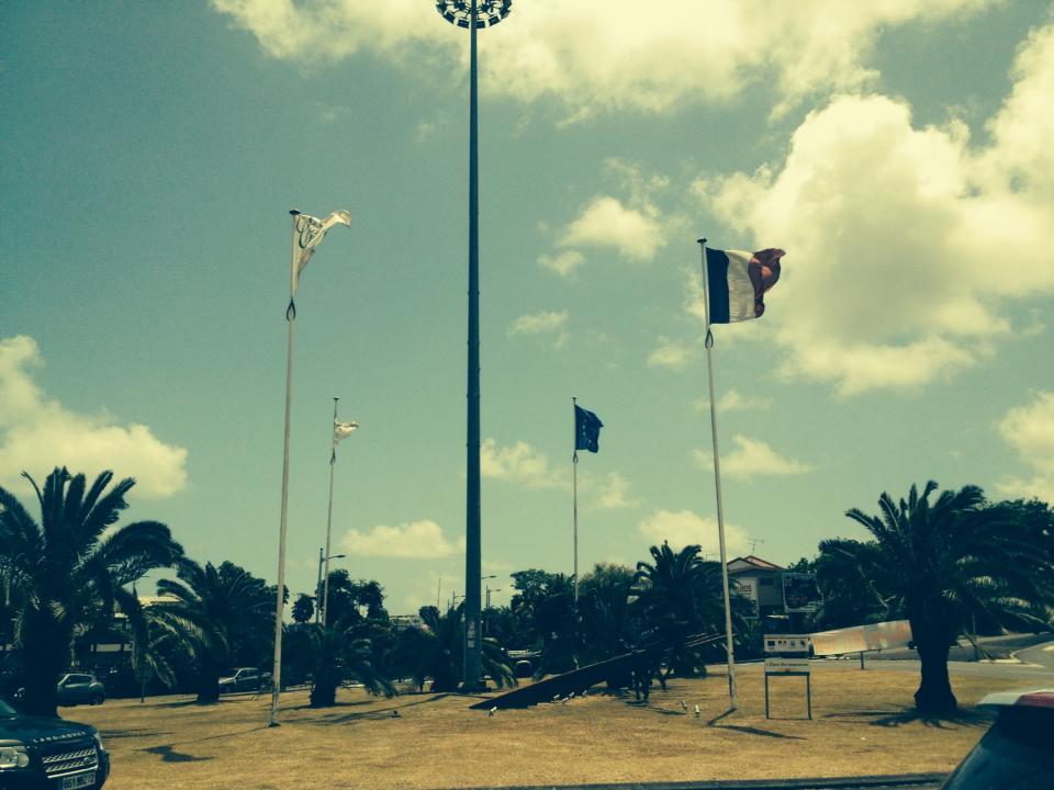 LA GUERRE DES DRAPEAUX : Le drapeau de la France, le drapeau de l'Europe, le drapeau des nationalistes et les drapeaux de Bernard HAYOT