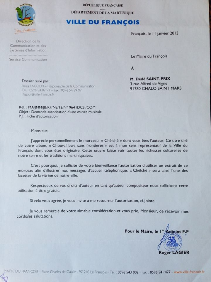 Dédé SAINT PRIX, Citoyen d'honneur de la ville d' 'Angoulême est il en guerre avec la municipalité du François?