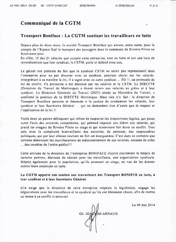 Communiqué de soutien de la CGTM aux travailleurs des Transports BONIFACE, à leur syndicat et à leur Secrétaire Général