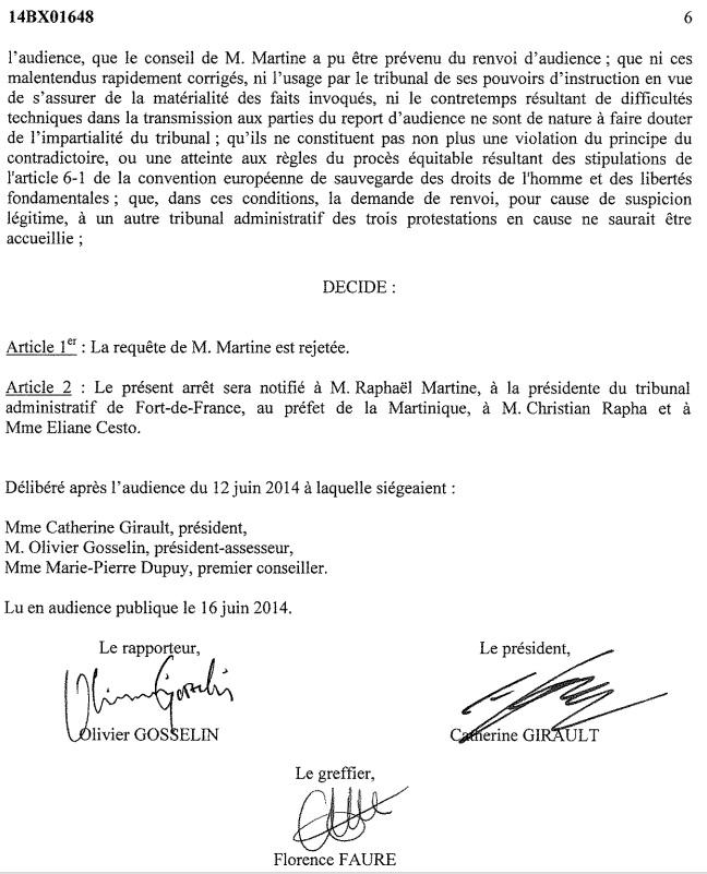 Deuxième défaite de MARTINE dans l'affaire de demande d'annulation des élections à SAINT PIERRE!