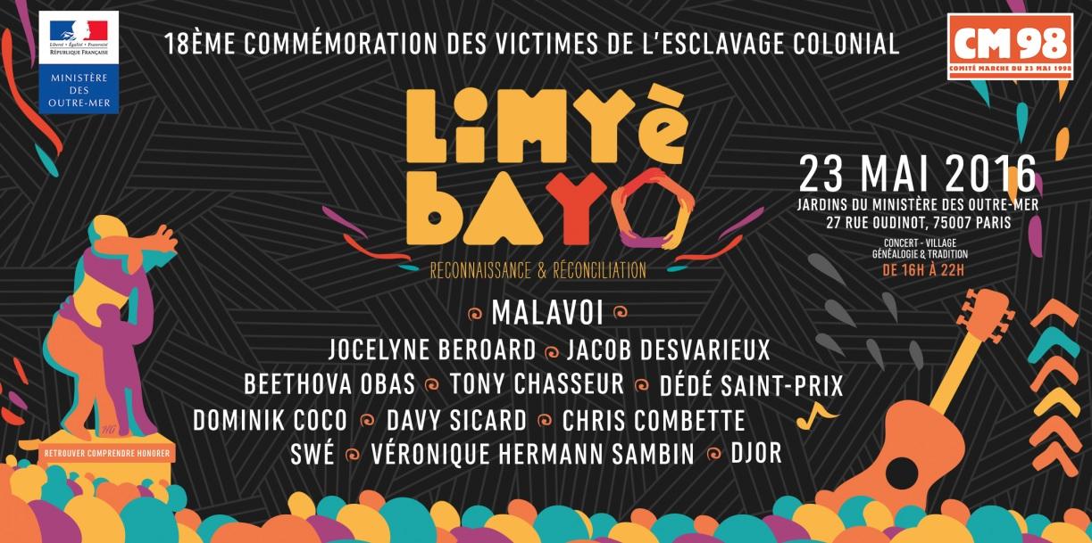 Invitation: commémoration des victimes de l'esclavage colonial qui se déroulera le 23 Mai 2016 dans les Jardins du Ministère des Outre-mer.