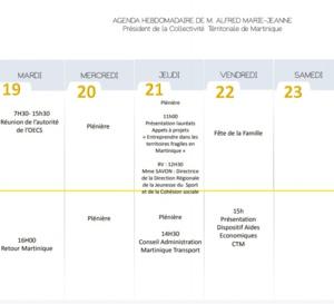 Agenda Hebdomadaire de M. Alfred Marie-Jeanne semaine du 18 juin 2018
