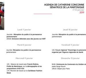 Agenda politique de Catherine Conconne. 1ère semaine de janvier.