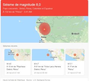 Un puissant séisme a frappé le Pérou dans la nuit de samedi à dimanche.( Le Live )