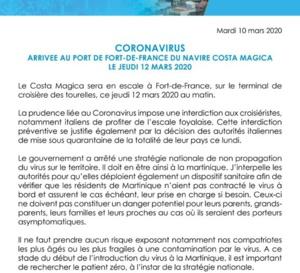 Coronavirus /  Croisière Fort de France semble dire stop !