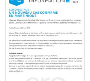 Coronavirus / 1 nouveau cas confirmé en Martinique. Pour rappel, la Martinique demeure au stade 1 de l'épidémie.