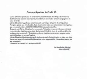 Ecoles fermées l'UNSA donne sa position !
