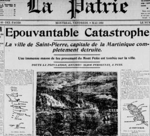 8 Mai 1902 éruption du Mont Pelée en Martinique faisait 30 000 morts