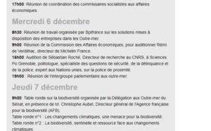 L'agenda politique de Catherine Conconne Sénatrice, à partir du 4 décembre