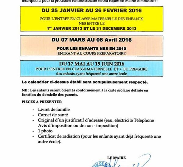 Les inscriptions pour la prochaine rentrée scolaire 2016/2017 à Ducos